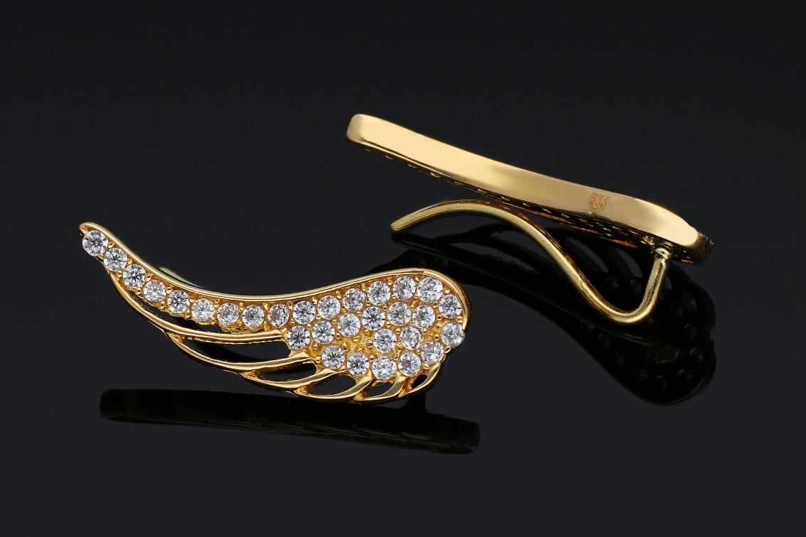 Cercei cu surub dama din aur 14K galben aripa