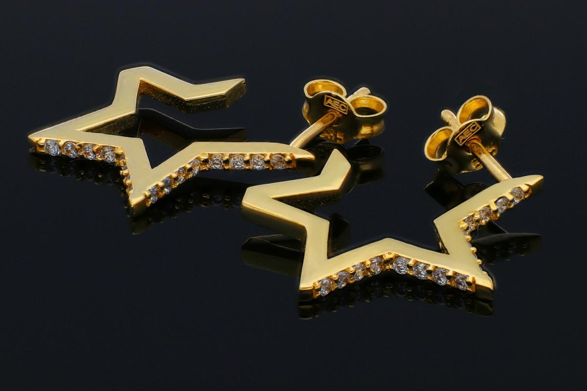 Cercei cu surub steluta din aur 14K galben cu zirconii