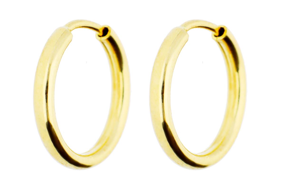 Bijuterii aur online - Cercei rotunzi creole din aur 14K galben