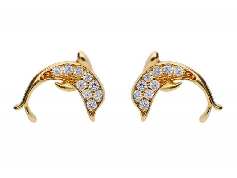 Cercei dama aur 14K delfini cu zirconii