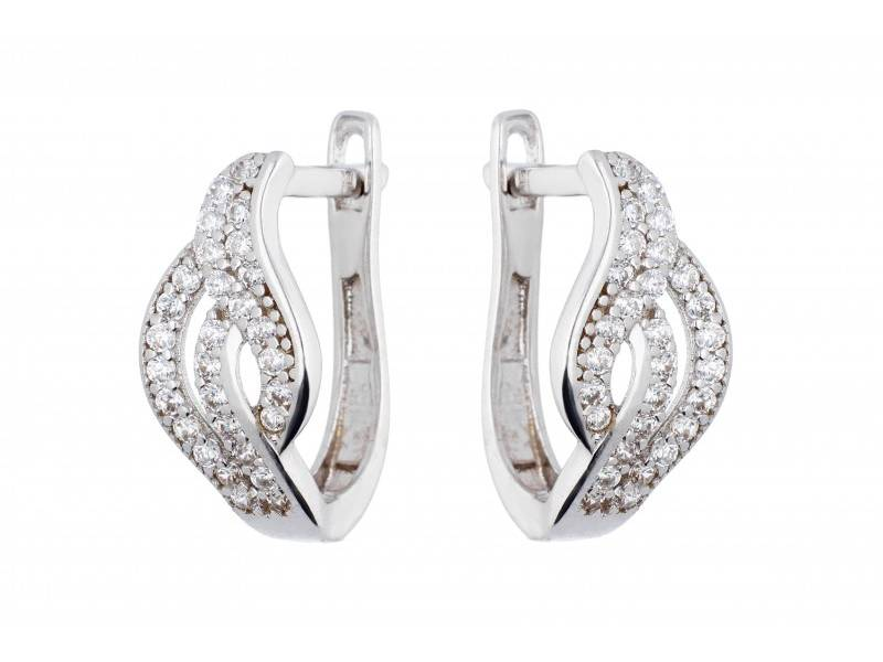 Cercei dama bijuterii online aur alb