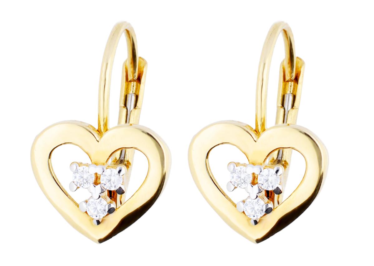 Cercei inimioare aur 14k bijuterii cadou