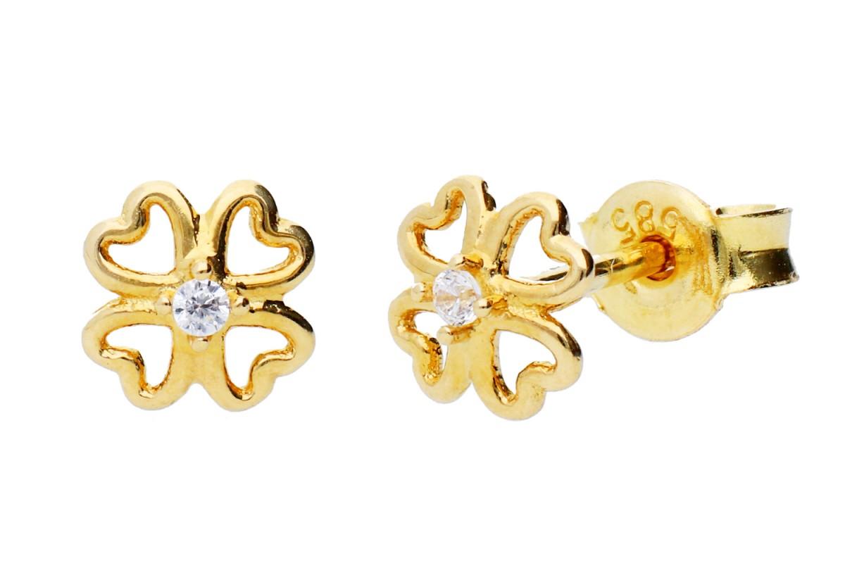 Cercei model trifoi bijuterii aur 14k
