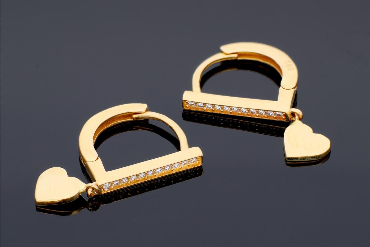 Cercei rotunzi pandantiv inimioara bijuterii aur cadou