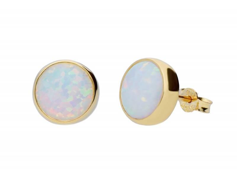 Bijuterii aur online - Cercei cu surub dama din aur 14K galben opal
