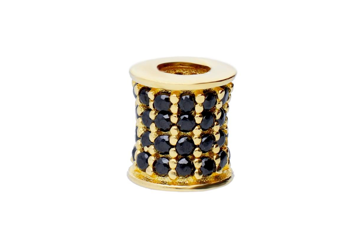 Charm pandantiv aur zirconii negre
