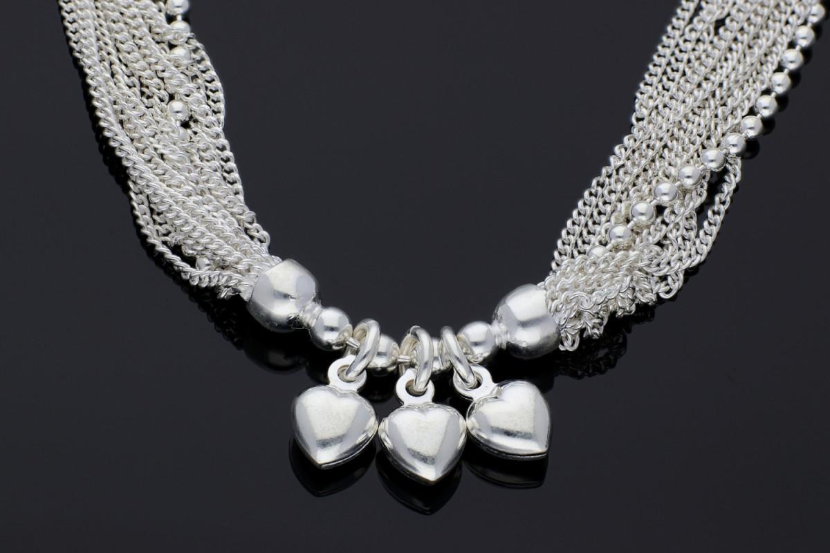 Colier argint sirag lantisoare pandantiv inimioara