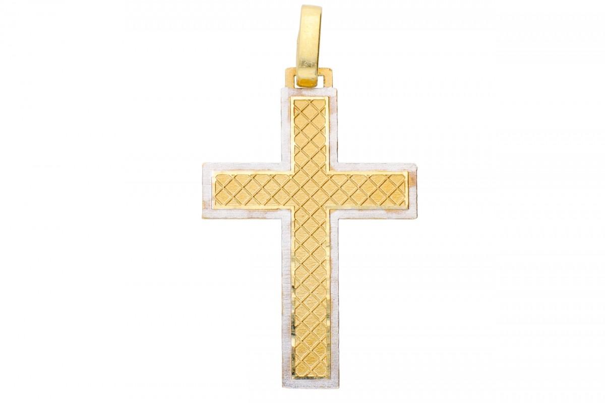 Bijuterii aur online – Cruciulita aur 14K alb si galben
