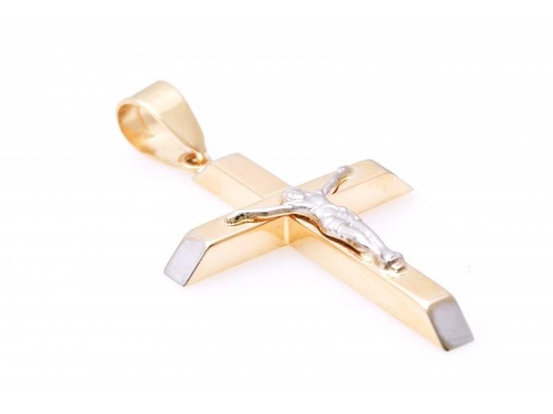 Bijuterii aur - Cruciulita aur 14K alb si galben Iisus