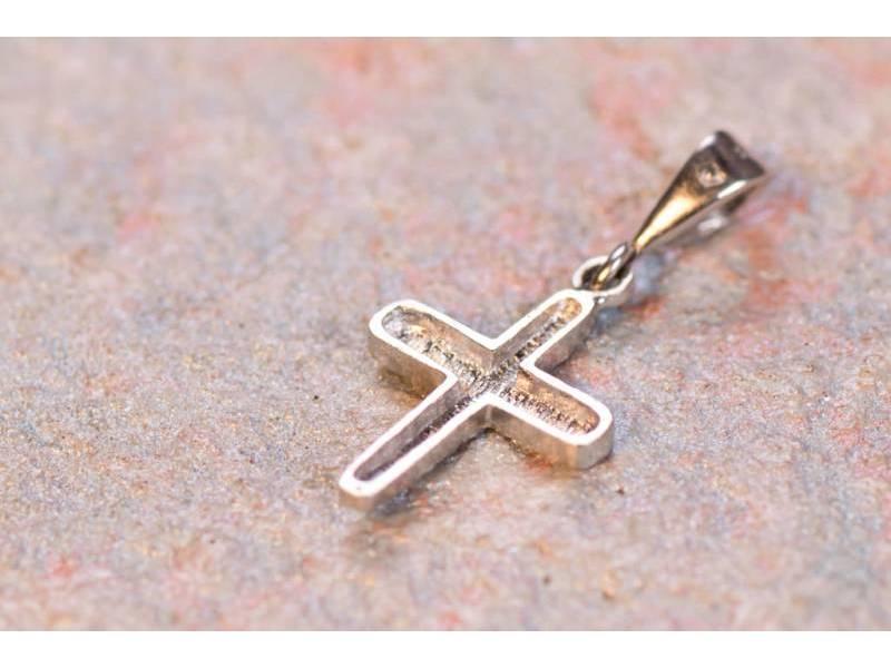 Cruce aur alb 14K bijuterii