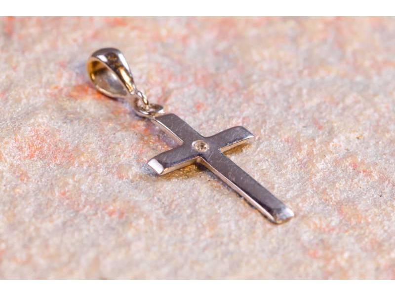 Cruce aur alb 14K bijuterii zirconia