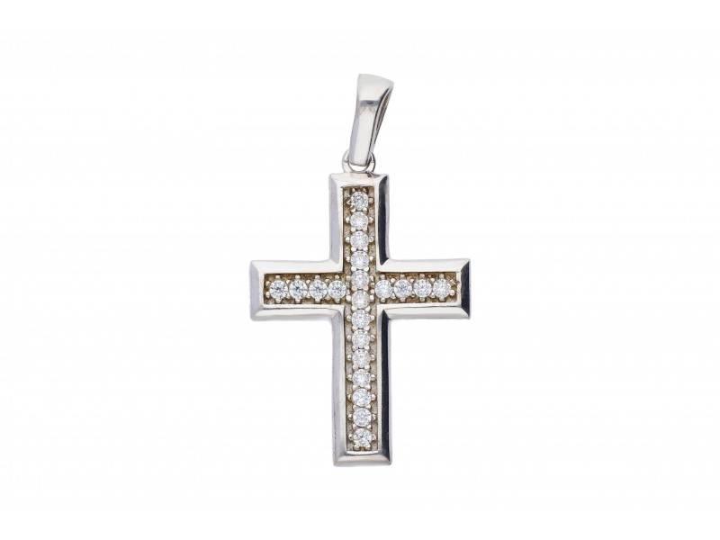Cruce aur alb 14K