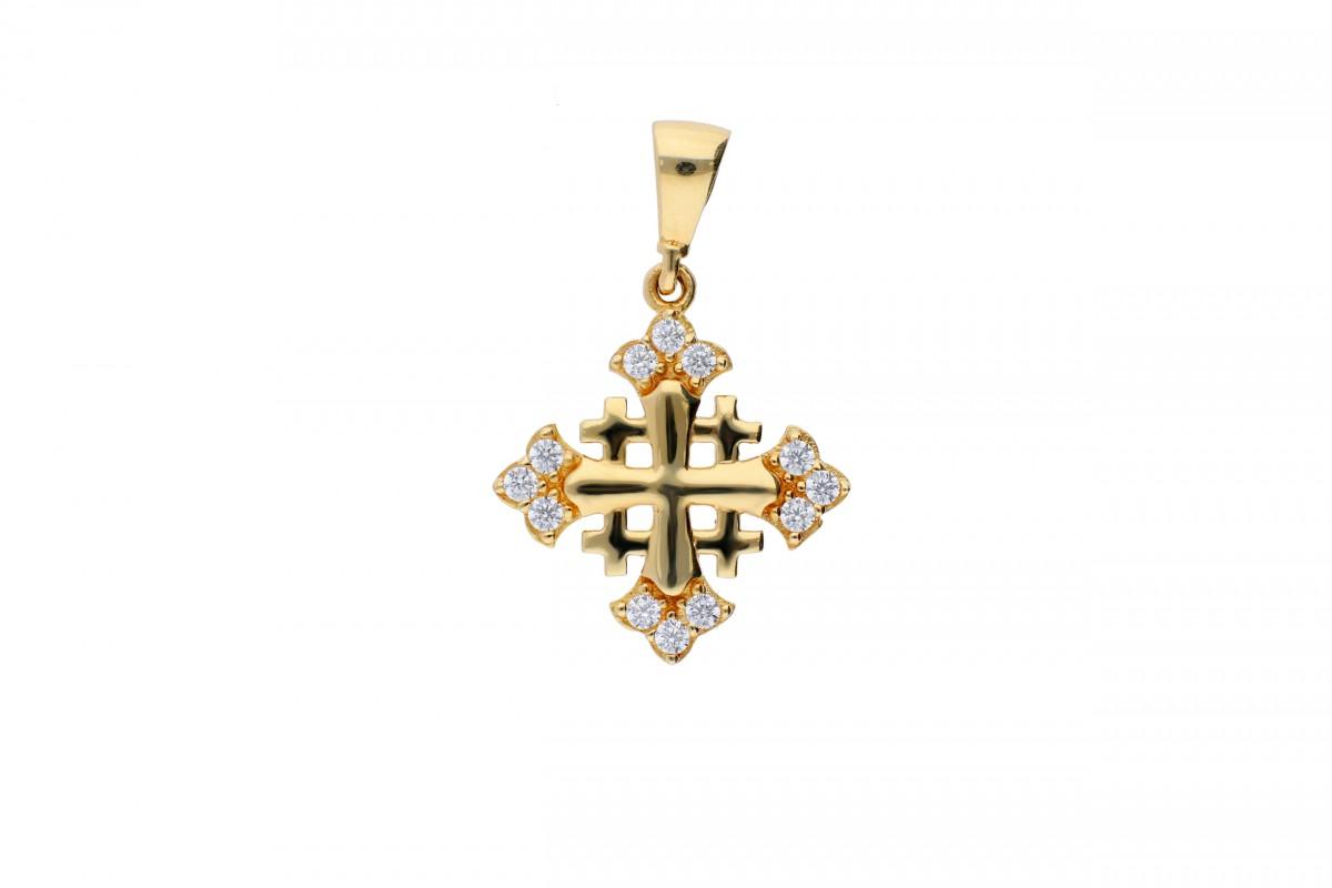 Cruce de Ierusalim aur galben 14K