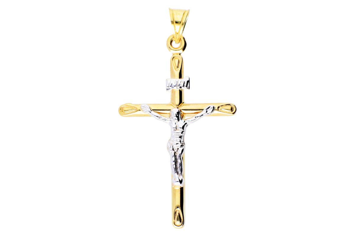 Cruciulita aur 14K alb si galben Iisus