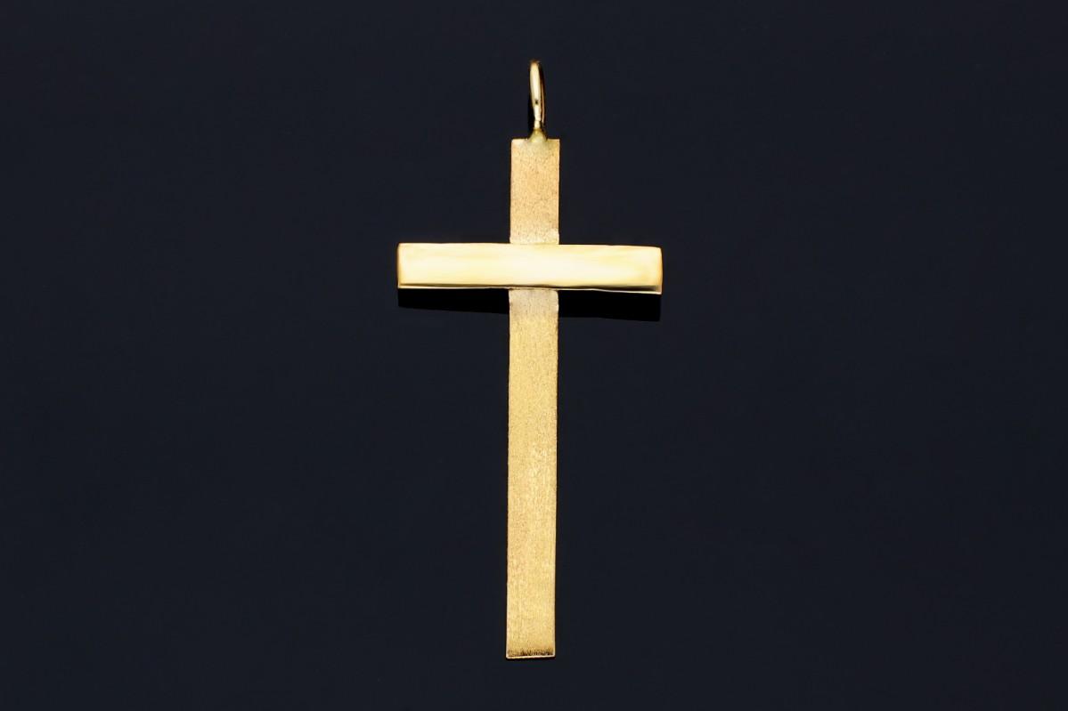 Cruciulita din aur 14K mat si lucios