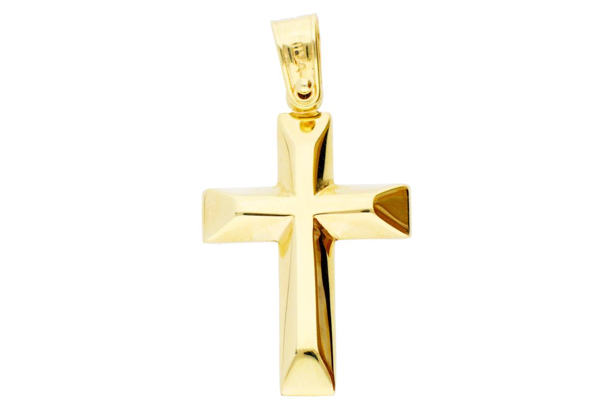 Bijuterii aur - Cruciulita aur 14K alb si galben doua fete