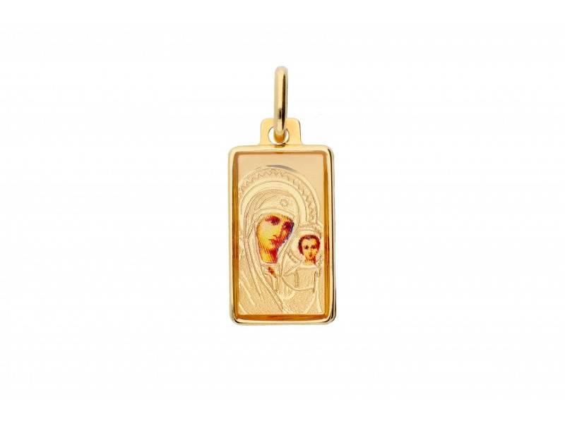 Iconita din aur 14K Maica Domnului si pruncul
