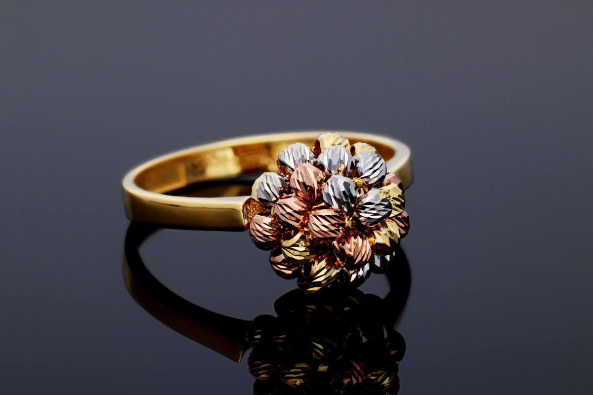 Inel aur 14K bijuterii dama cu bilute