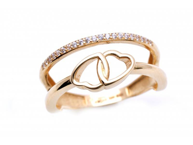 Inel aur 14K bijuterii dama inimioare