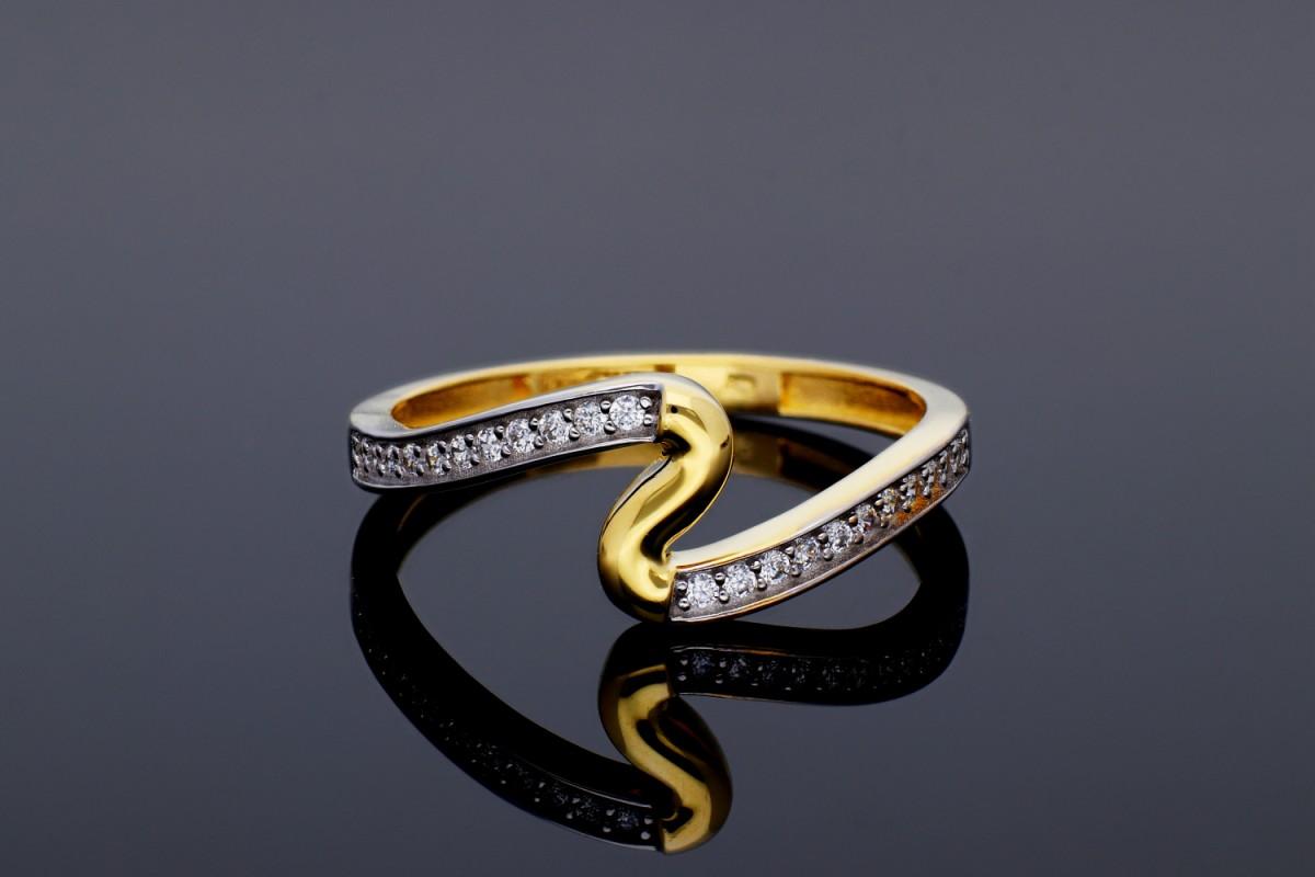 Inel aur 14K bijuterii dama zirconia
