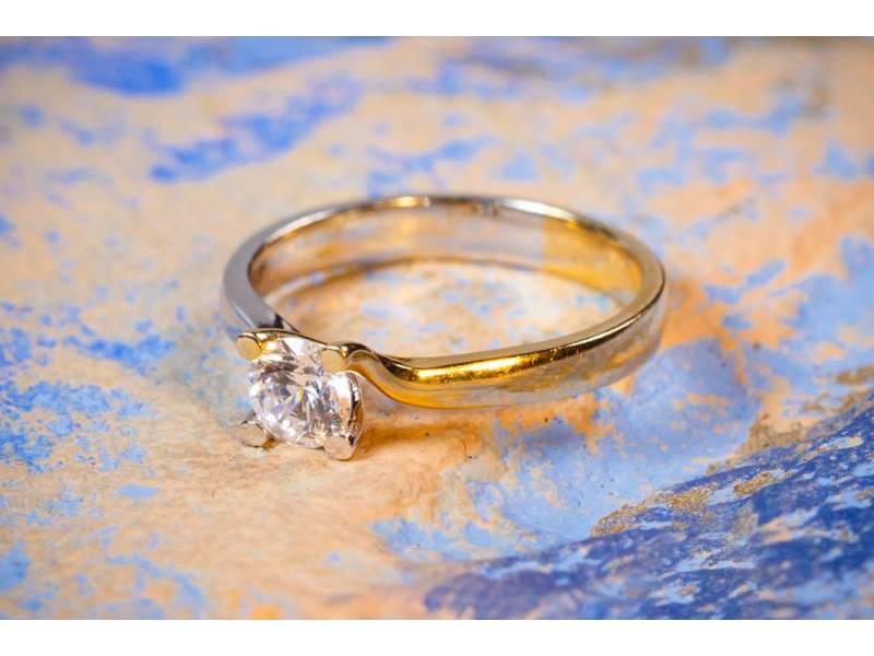 Bijuterii aur online - Inel de logodna dama aur 14K alb si galben zirconia