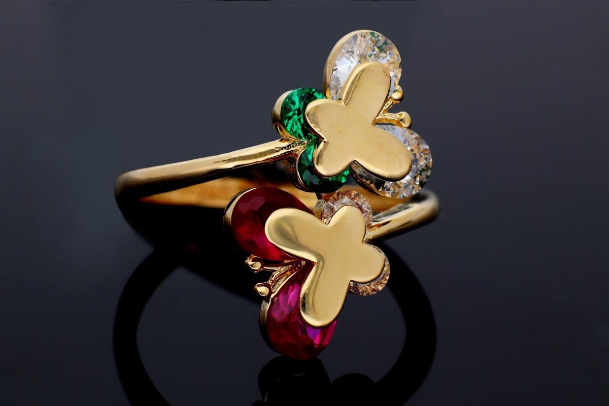 Inel dama din aur 14K galben fluturas zirconia colorate