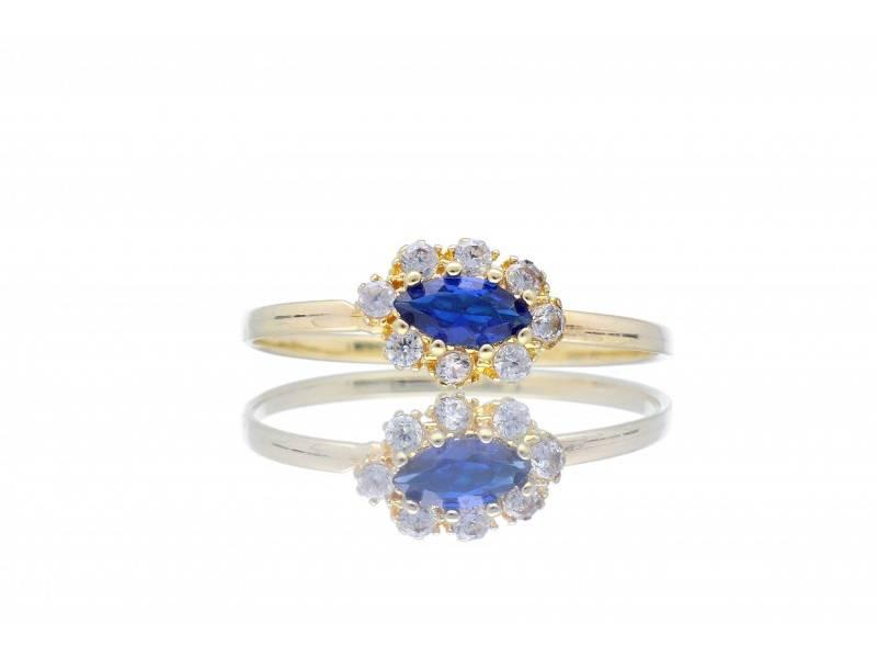 Inel aur 14K pentru copii cu zirconia albastra