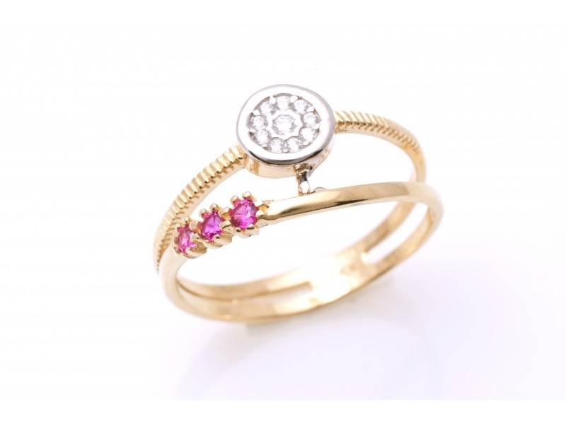 Inel aur 14k pietre colorate cadou dama