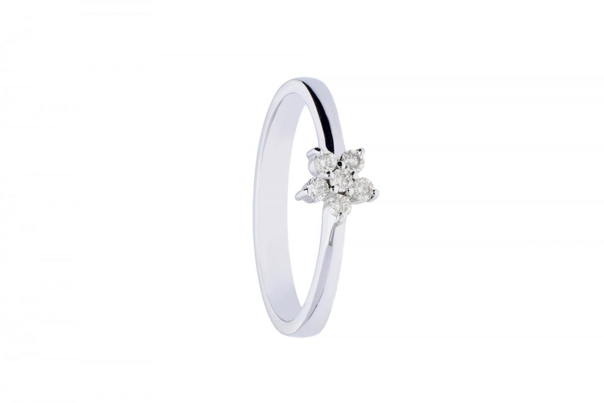 Inel  de logodna cu diamante cadouri bijuterii aur alb 18k