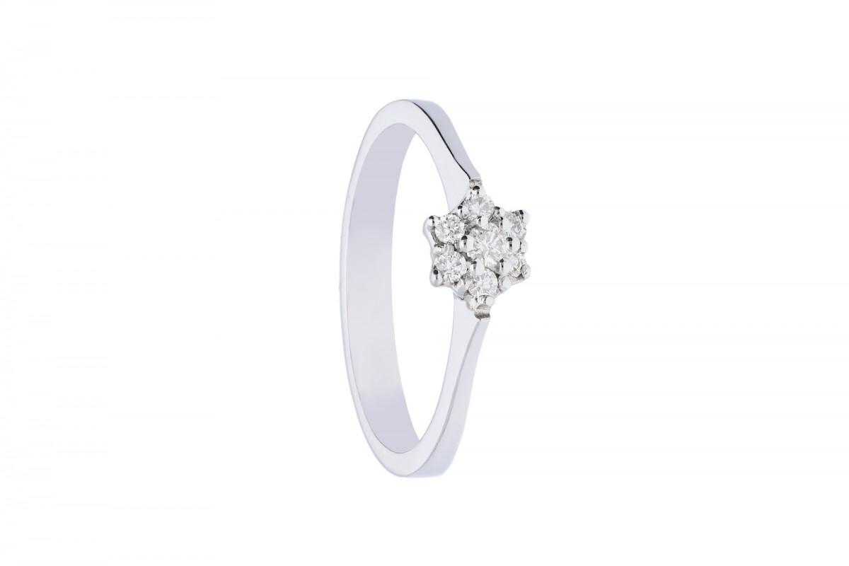 Inel  de logodna cu diamant aur alb 18k