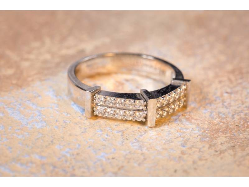 Bijuterii din aur - Inele aur 14K alb cu zirconii