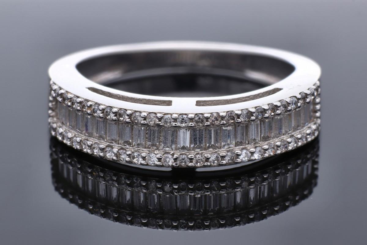 Inel dama din aur 14K alb cu zirconii