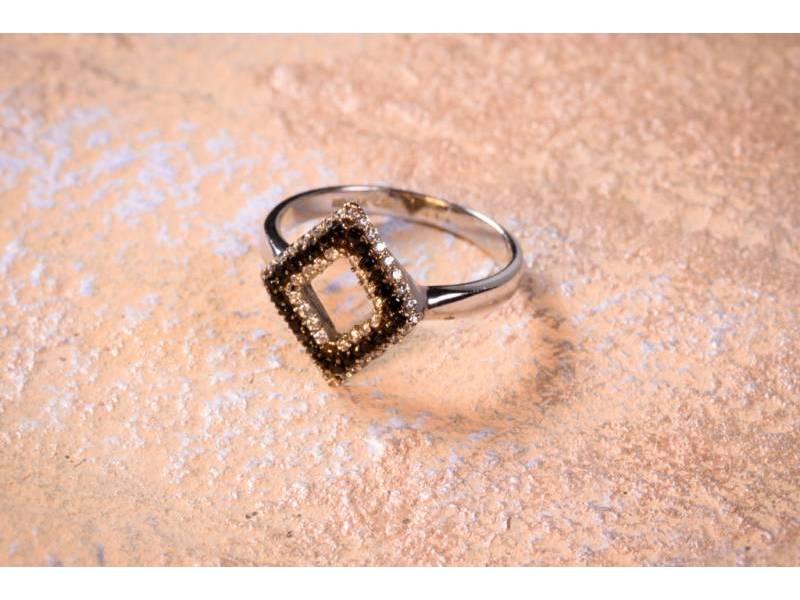 Bijuterii aur online - Inele dama aur 14K alb cu zirconii albe si negre