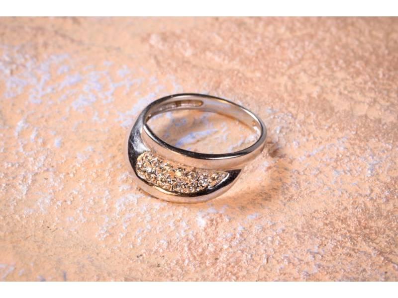 Bijuterii aur online - Inele din aur 14K alb cu zirconii