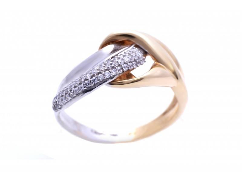 Bijuterii aur online - Inel dama din aur 14K alb si galben cu zirconii