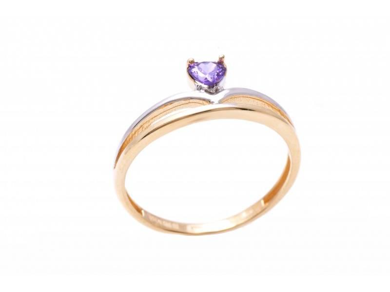 Inel dama din aur 14K galben cu piatra inimioara