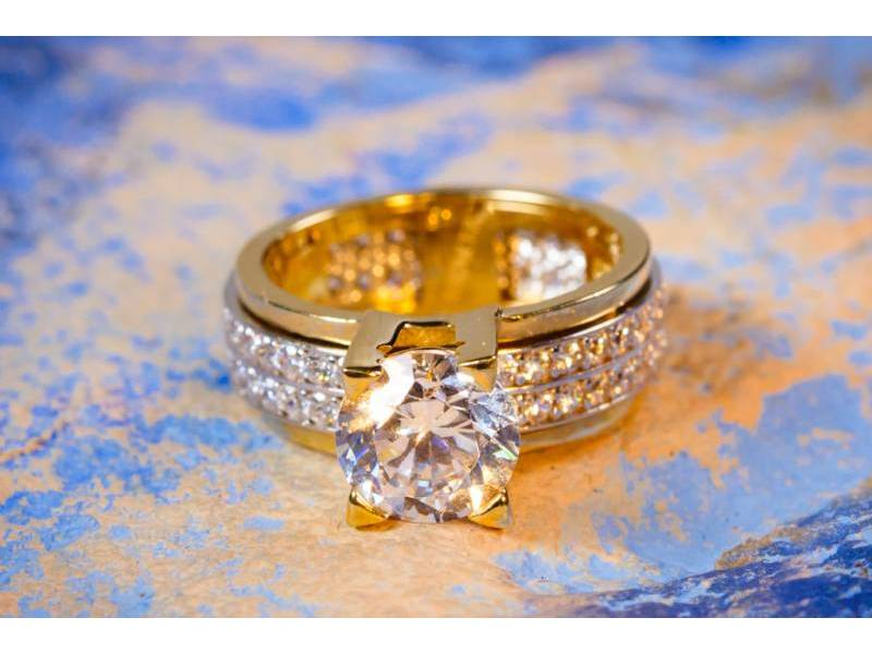 Inel aur logodna model antistres 2 randuri de pietre