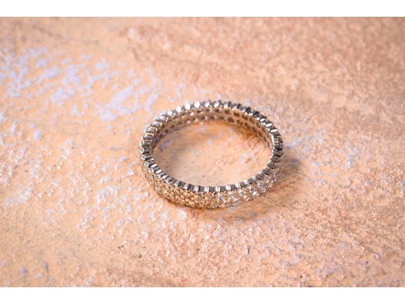 Inel aur tip verigheta cu 2 randuri zirconii cadouri bijuterii