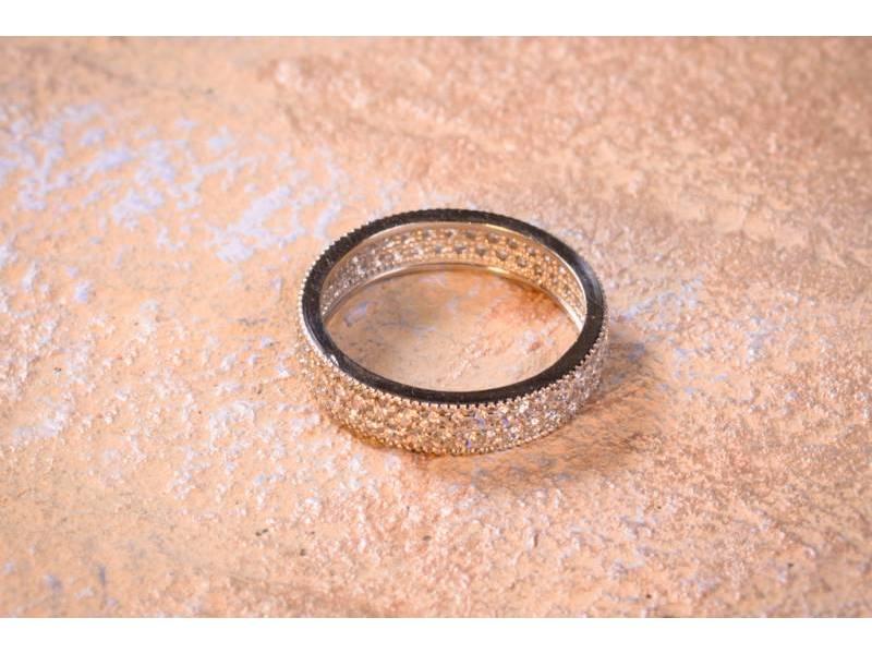 Bijuterii aur - Inel dama aur 14K alb verigheta 2 randuri zirconii