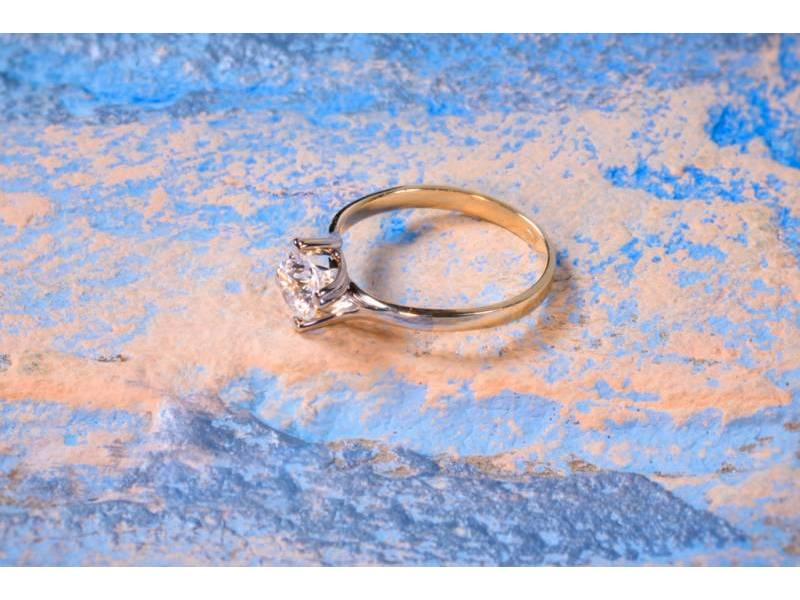 Bijuterii aur online - Inel de logodna aur 14K alb si galben cu zirconia