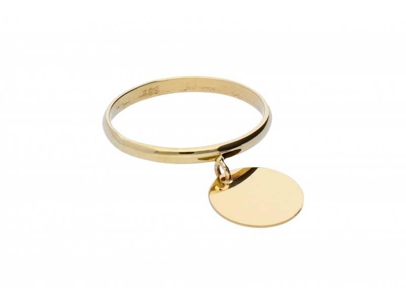 Inel cu charm aur 14K banut gravabil