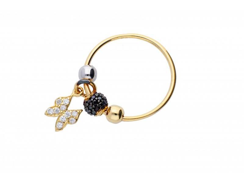 Inel cu charm aur 14K fluture