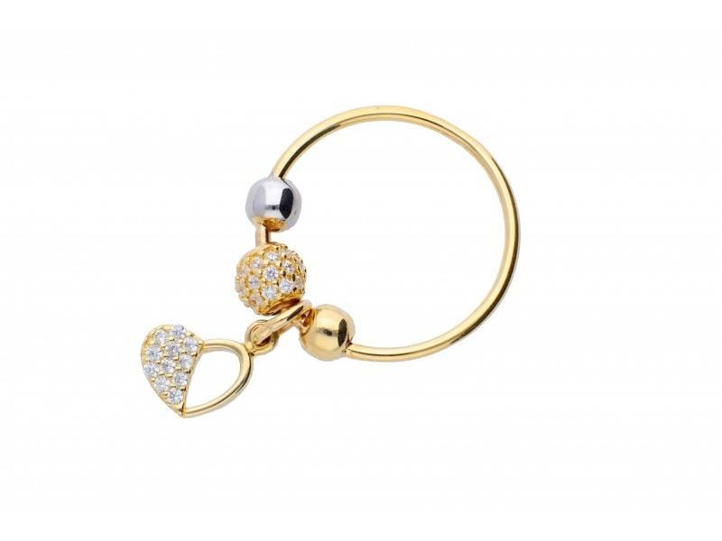 Inel cu charm aur 14K inimioara