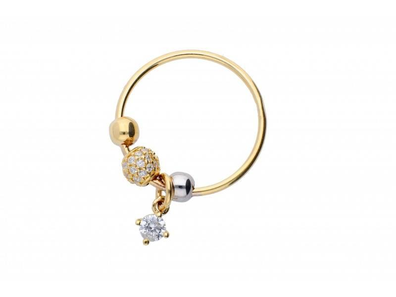Inel cu charm aur 14K zirconia