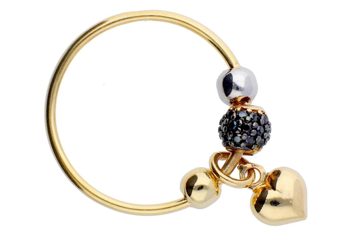 Inel cu charm aur 14K zirconia negre inimioara