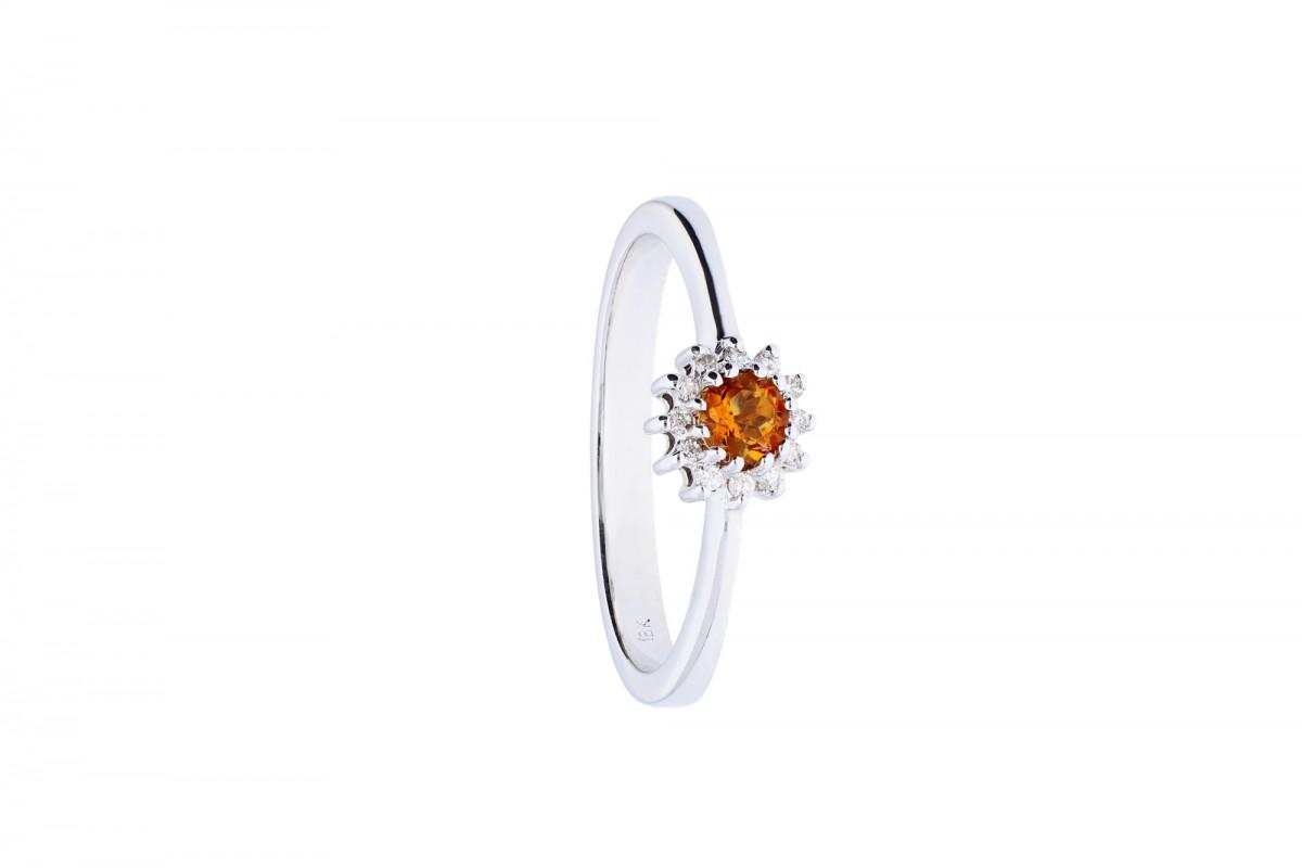 Inel de logodna  cu diamante si  citrin din aur alb 18k
