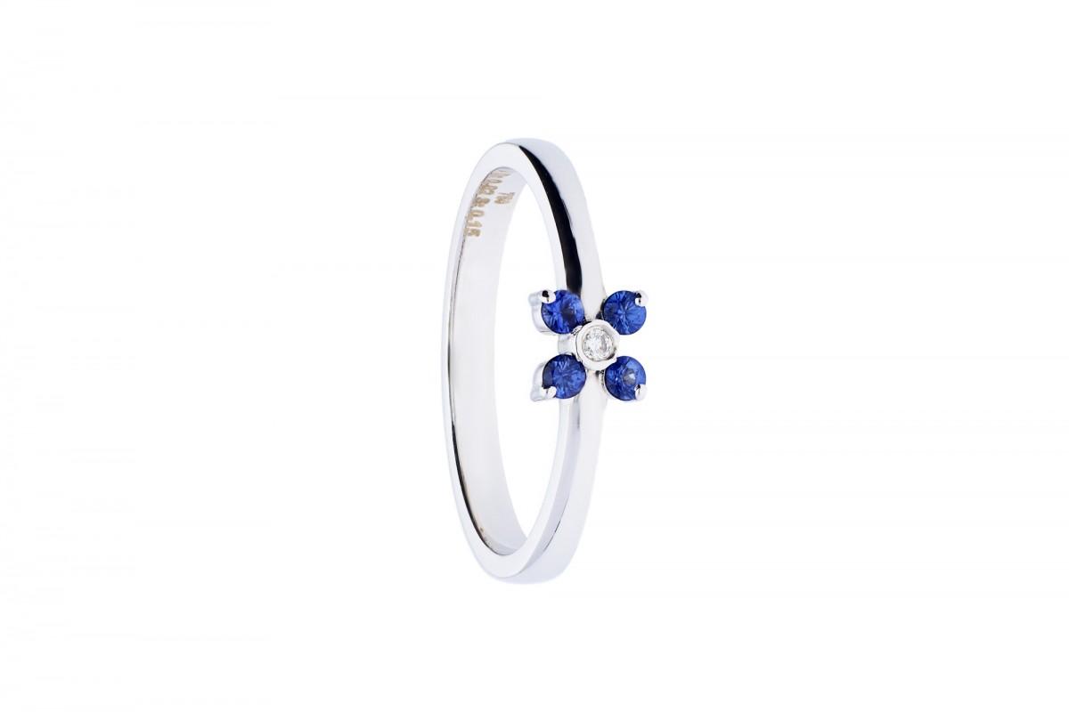 Inel de logodna aur alb 18k cu diamant si safire