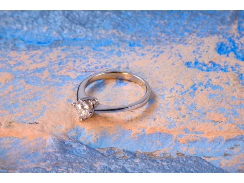 Bijuterii aur online - Inel de logodna din aur 14K alb