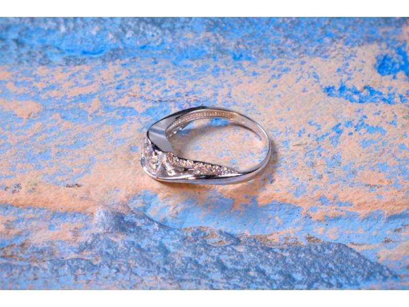 Bijuterii aur - Inele de logodna din aur 14K alb zirconia
