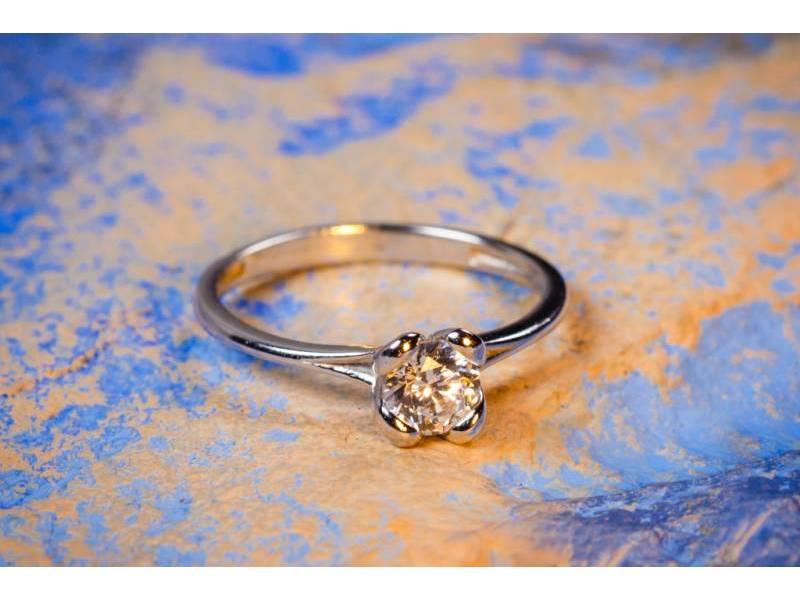Bijuterii aur online - Inele de logodna dama din aur 14K alb zirconia